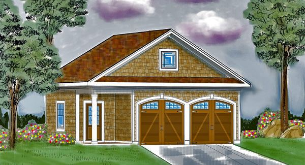 One story garage house plan 6331 more garage doors for Single story house plans with detached garage