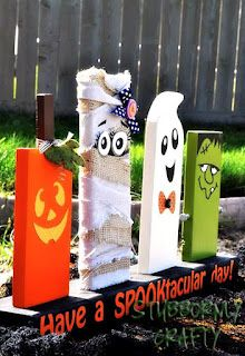 Shawna can you get me some wood for these???  I will paint!!!Positively Splendid {Crafts, Sewing, Recipes and Home Decor}: Seven Fun Halloween Craft Ideas