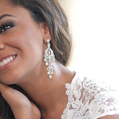 Women's Silver Drop Earrings With Rhinestone Long Big Earring For Birde Wedding – CAD $ 16.67