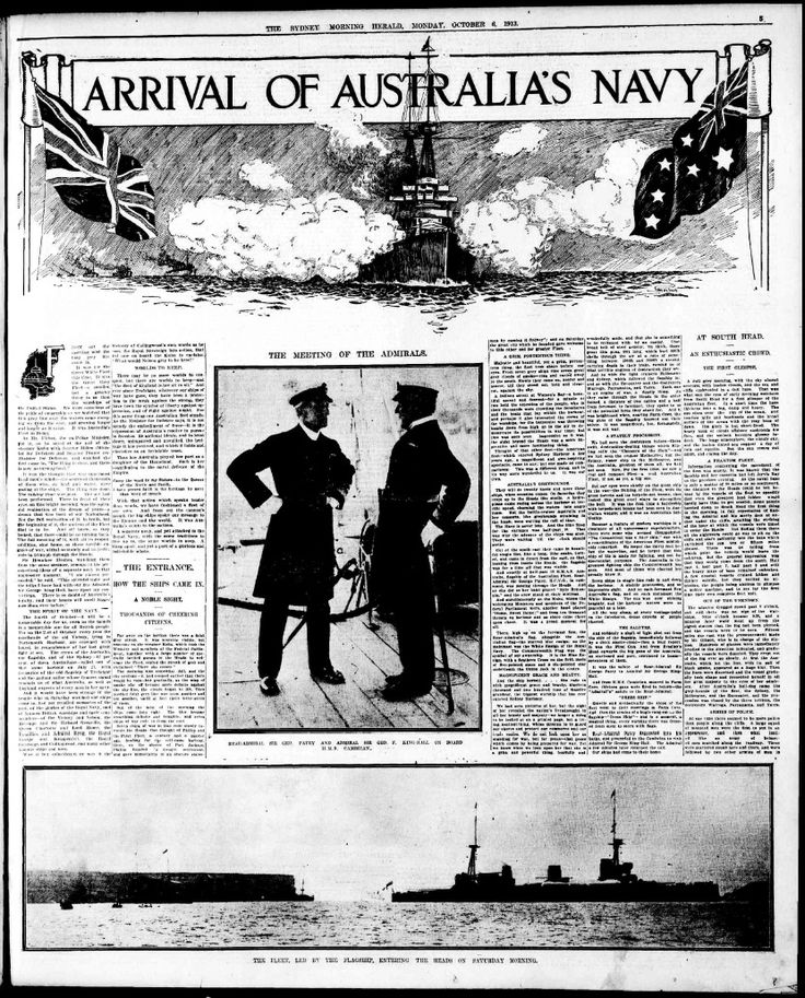 Sydney Morning Herald's report from the fleet entry in 1913 entitled Back to the Future