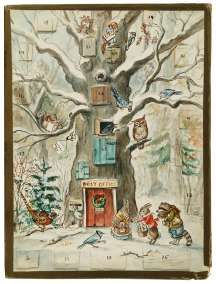 Tasha Tudor. Advent Calendar. Watercolor on stiff paper. 1960. Signed and dated. $15,000–$18,000. - See more at: http://www.antiquetrader.com/antiques/antiques-americana/auctions/tudor_illustrations_illuminate_oct_4_waverly_auction#sthash.LMGbDipj.dpuf