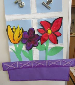 Adapt this idea to create matisse style windows - kids select patterned paper for curtains and paint and colage things on table in front of the window