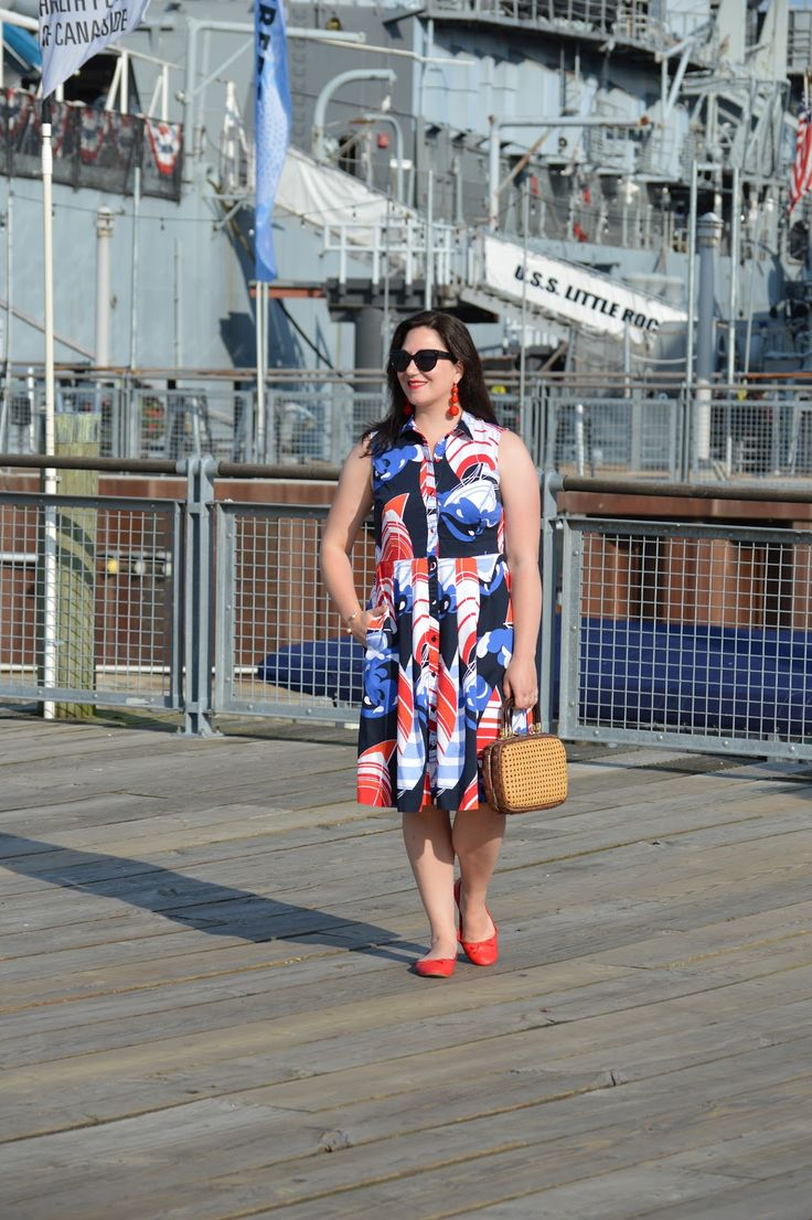 Visiting Buffalo's Canalside in a Talbots boat printed dress