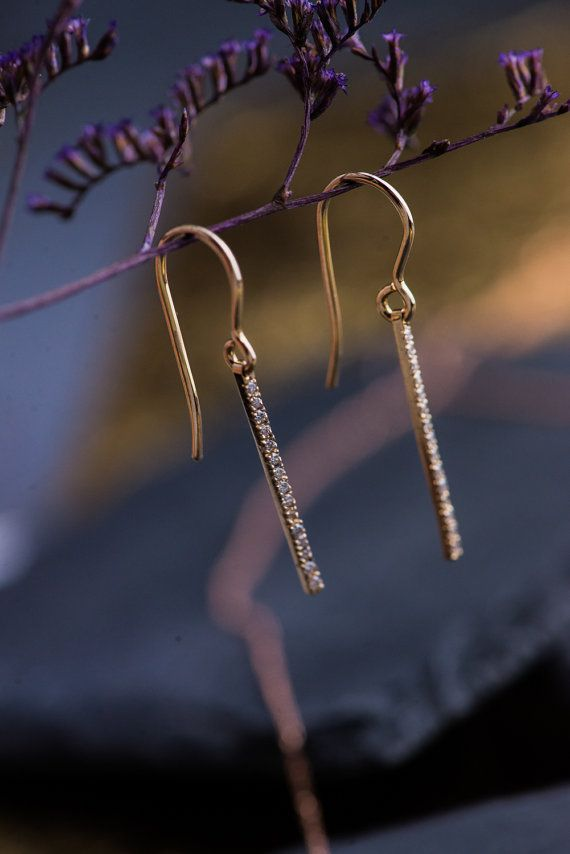 Natural White Diamonds Drop Earrings in 14K by ZEHAVAJEWELRY