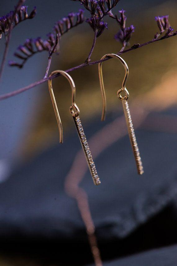 Natural White Diamonds Drop Earrings in 14K by ZEHAVAJEWELRY