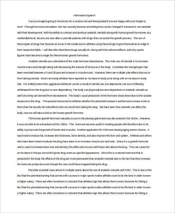 Writing A Informative Speech Speech Outline Informative Speech Outline Informative Essay