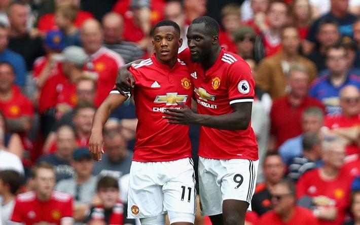 Descargar fondos de pantalla Romelu Lukaku, Anthony Martial, el Manchester United, de la Premier League, fútbol, Inglaterra