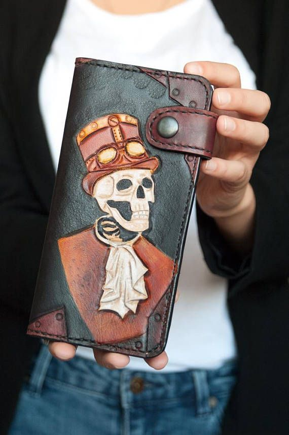 Bifold Wallet women Leather card wallet with skull women