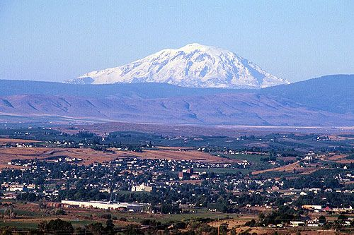 """My novel """"Promise"""" leads to an awareness of this. Looking over the city of Yakima and out to Mount Adams. The ridge drops into the Yakima Indian Reservation on the other side."""