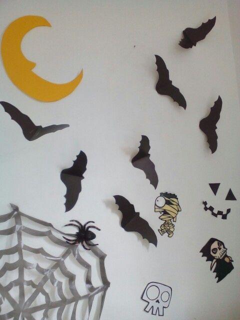 Halloween. Murciélagos de cartulina, Telaraña de bolsa plastica