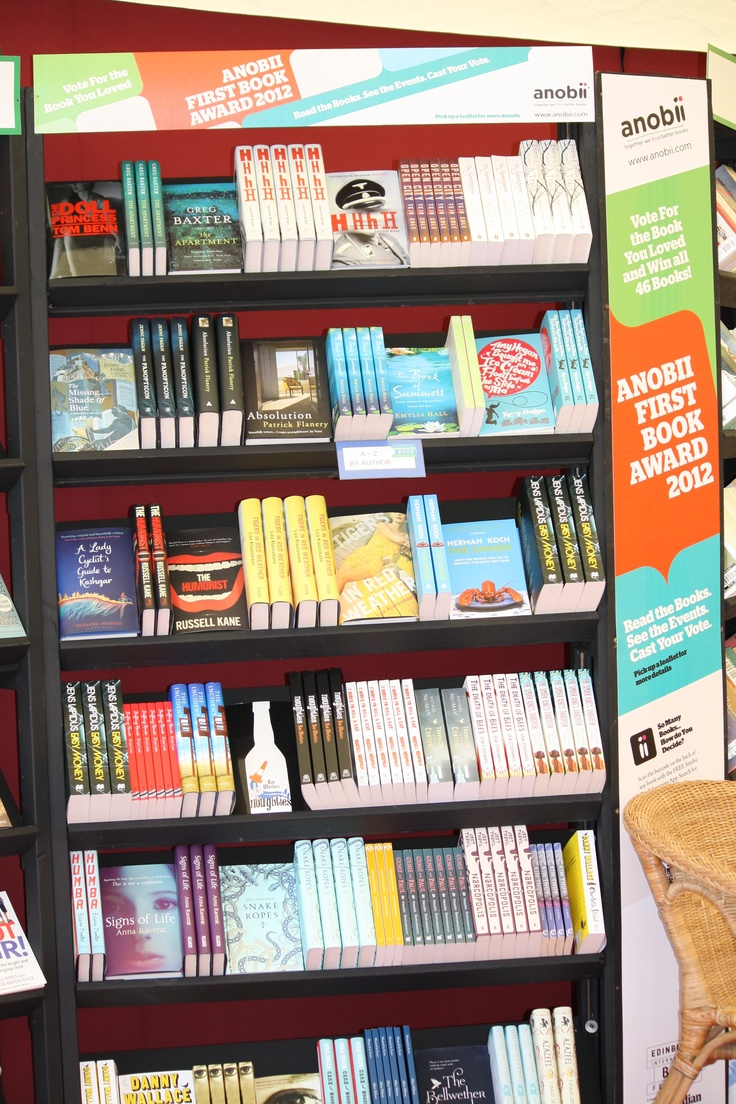 The beautiful display of Anobii First Book Award Nominees in the Edinburgh Book Festival bookshop. Here they are in our online bookshop: http://beta.anobii.com/topic/anobii-first-book-award-nominees-2012