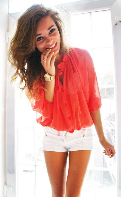 coral shirt, white shorts, tam and pretty hair for summer <3