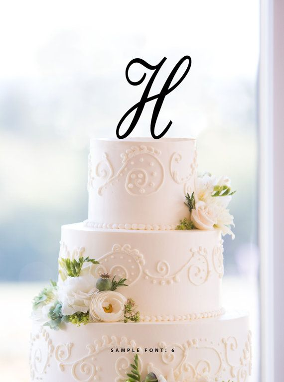 Letter H Single Monogram Cake Topper by ChicagoFactoryDesign
