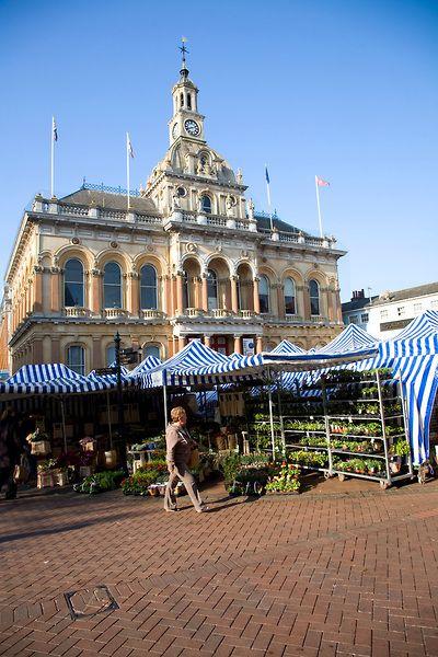 The Corn Exchange, Ipswich, Suffolk on market day