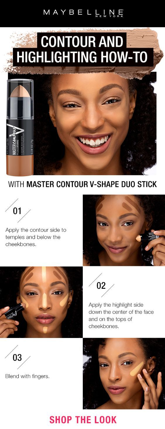 Contouring and highlighting made easy with the Maybelline Master Contour V-Shape Duo Stick. First, apply the contour side to temples and below the cheekbones. Next, apply the highlight side down the center of the face and on the tops of cheekbones. Blend with fingers for a seamless finish.