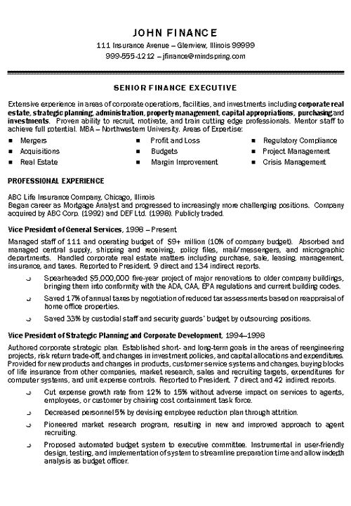 Executive Resume Templates Insurance Executive Resume Example