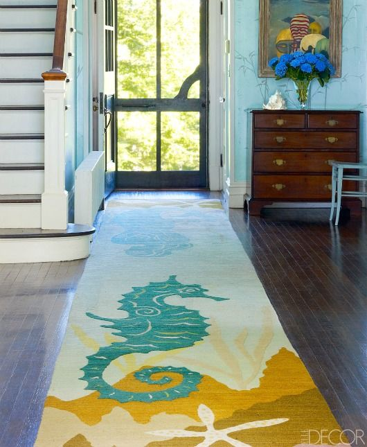 Coastal Nautical Runner Rugs That Make An Entry | Shop The Look    Completely Coastal