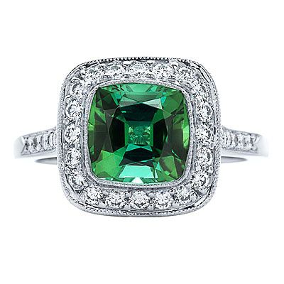 1.90-carat green tourmaline and diamonds in platinum, Tiffany & Co., $7,650; tiffany.com.