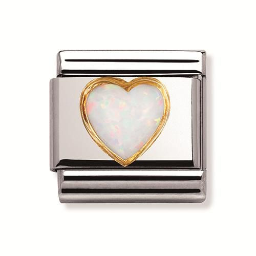 Nomination Stainless Steel, 18ct Gold White Opal Heart Charm. Part of the Composable Classic range, this is the smaller of the nomination charms, compatible with the Composable Classic Bracelets.