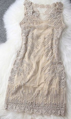Lace embroidery cream colored dress