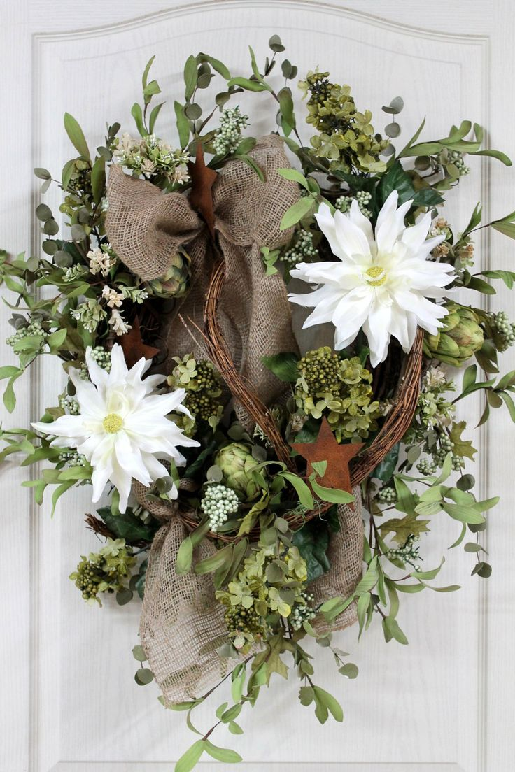 Country Wreath for Front Door with Burlap Bow, Spider Dahlias, Primitive Stars, Green Hydrangeas, and Artichokes.....Country Decor