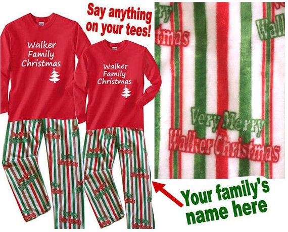 This one of a kind Christmas pajama set is the most personalized thing out there for that unique family! Make sure to check out the store for other fun holiday customized prints for family pajamas and matching mugs!  Pajama set consists of (1) custom printed red long sleeve tee printed with whatever text you want on the front (just indicate that on the custom notes or at checkout). Family name is printed within the phrase Very Merry (familys last name) Christmas! on the (1) super soft…
