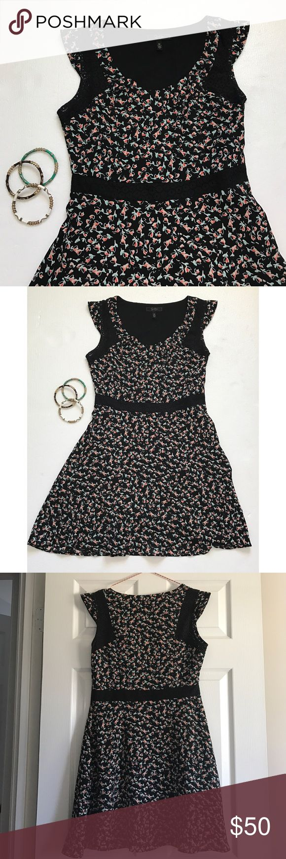 JESSICA SIMPSON Floral Dress with Black Lace Stunning, flirty spring dress from Jessica Simpson. Floral pattern with black lace accents. Delicate cap sleeves. Jessica Simpson Dresses Midi