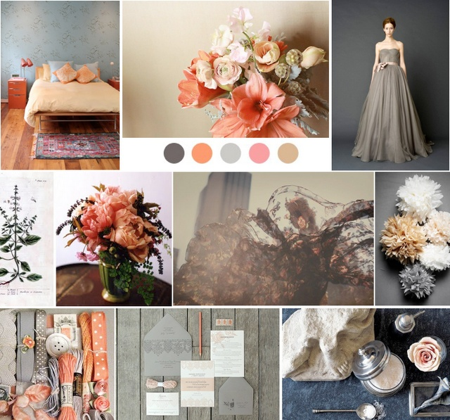 melon and pewter: Wedding Inspiration, Wedding Dressses, Colourpalettes, Wedding Dresses, Colors Palettes, Colors Schemes, Peaches, Colour Palettes, Colors Boards