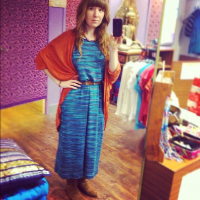Elfin maxi dress with orange cape.