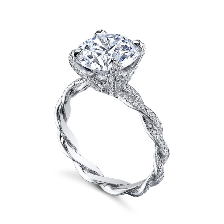 "MICHAEL B.'s ""Infinity"" ring with diamond prongs and tips is a true testament to love that lasts an infinity MB1-40-28P-DPT. Hand braided and custom made, available in Platinum, 18K Rose,White, Yellow or mixed metal combinations. Available also with no diamonds, and with diamonds only on 1 braid."