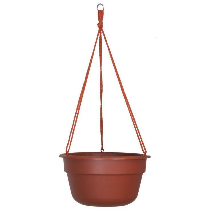 Bloem 10 in. Terra Cotta Dura Cotta Plastic Hanging Basket