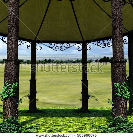 a view of the tent from the inside. Natural landscape. High hill. 3D rendering, 3D illustration