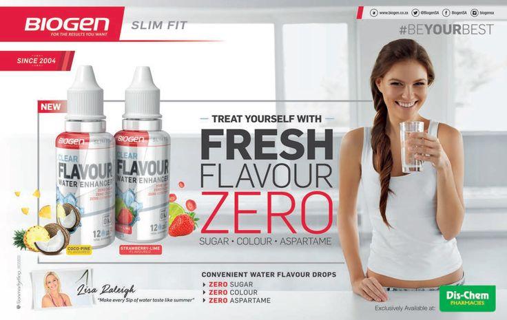 BIOGEN Slim fit  Treat yourself with Fresh Flavor water drops that contain ZERO Sugar, Colour and Aspartame!  #BEYOURBEST www.biogen.co.za