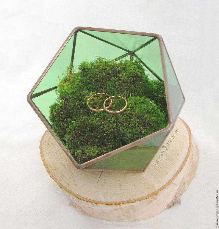 Wedding ring box, Green glass box, Geometriс glass box for rings, Wedding ring holder