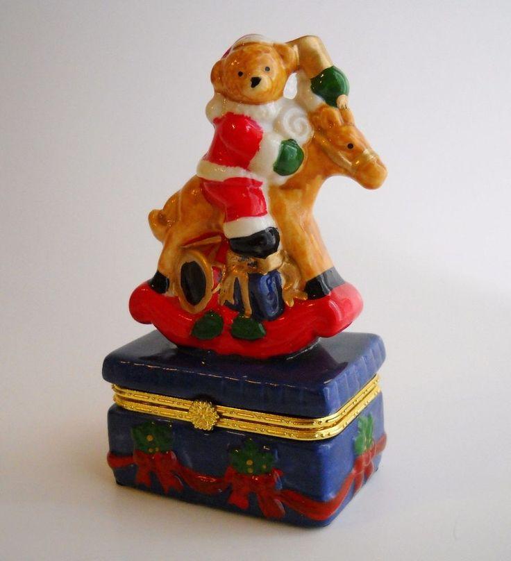 Limoge Teddy Bear Rocking Horse Trinket Box Christmas Gift Candy Jewelry Holder #Limoge #JewelryTrinketBoxTreasureJarCandyDish