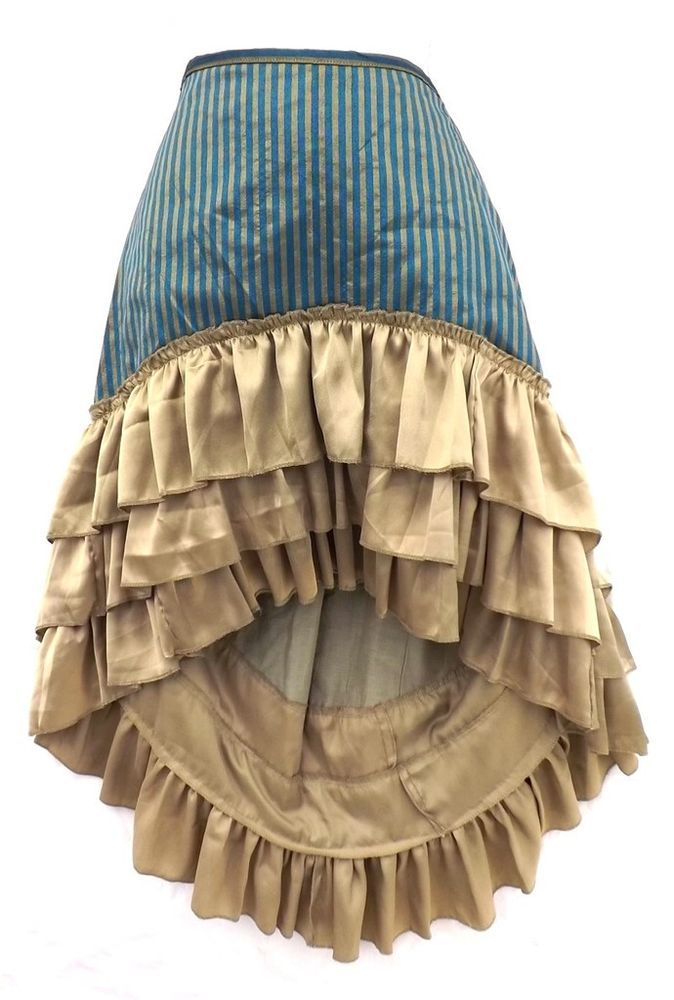 Steampunk Victorian Renaissance Pirate Costume Blue Bronze Striped Ruffle Skirt #Kashi #Skirt