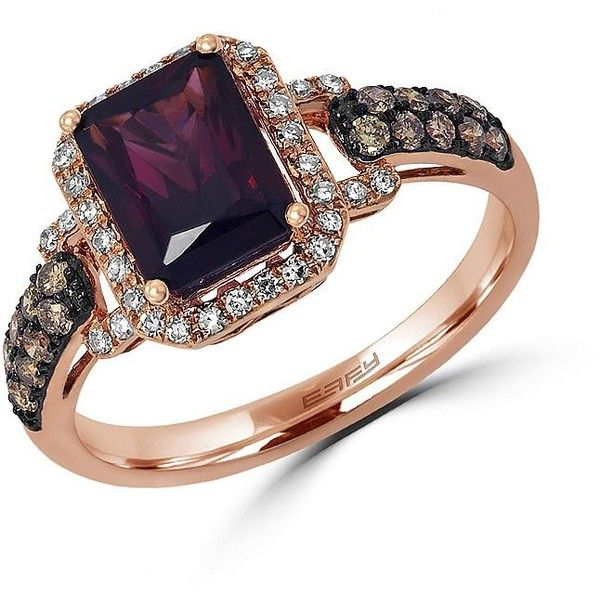 Effy Bordeaux 14K Rose Gold, Diamond, and Brown Diamond Ring, 0.38 TCW ($1,000) ❤ liked on Polyvore featuring jewelry, rings, purple, burgundy, purple diamond ring, fine jewelry diamond rings, rose gold jewelry, 14 karat gold ring and diamond jewelry
