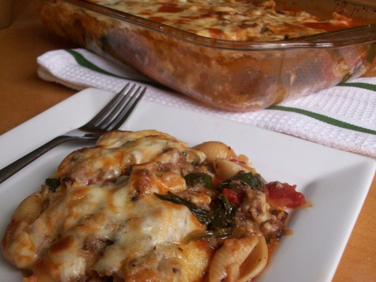 Spinach and sausage pasta bake   Recipe