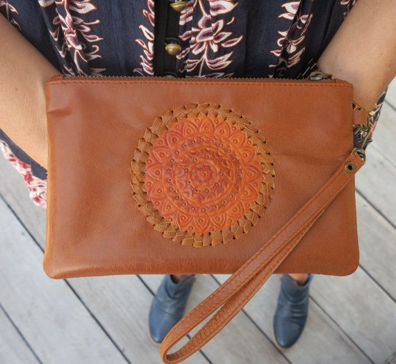 GYPSY Women Tan Leather Clutch / Boho Clutch / Suede / Handmade / Brass Zipperwith card holder
