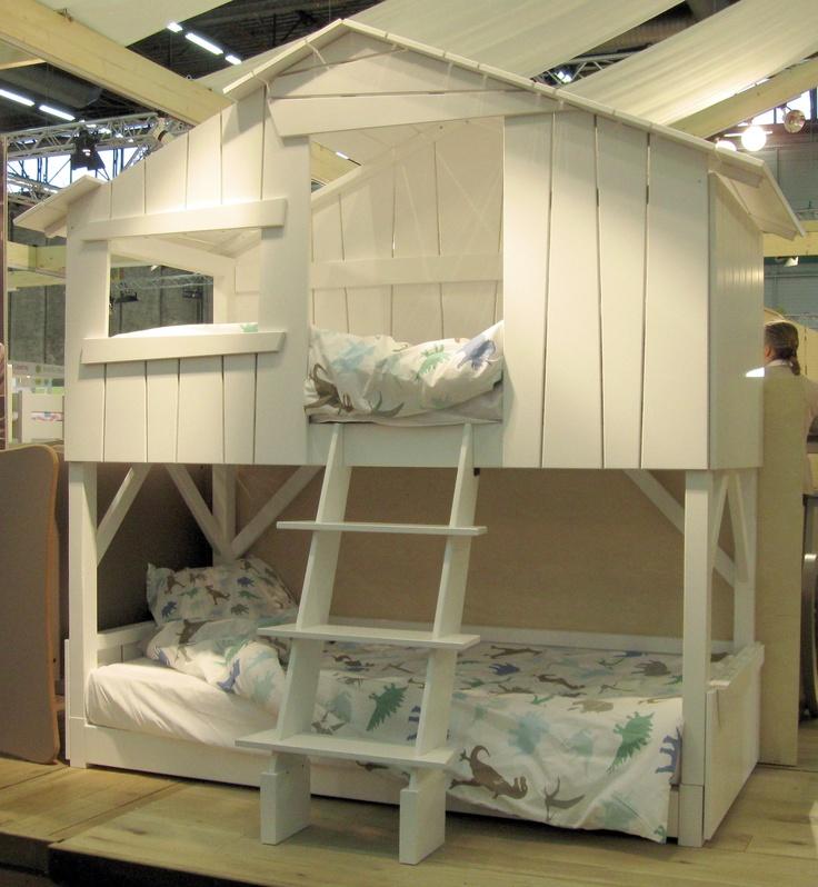 lit cabane enfant double couchage laque blanc