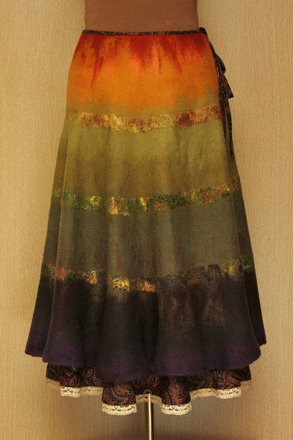 Sundown Rays / Felted Clothing / Skirt by LybaV on Etsy