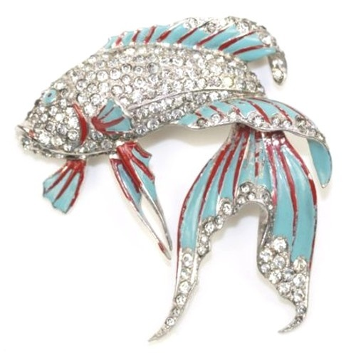 MB Boucher RARE 1940's Enamel Pave Rhinestone Siamese Fighting Fish Pin