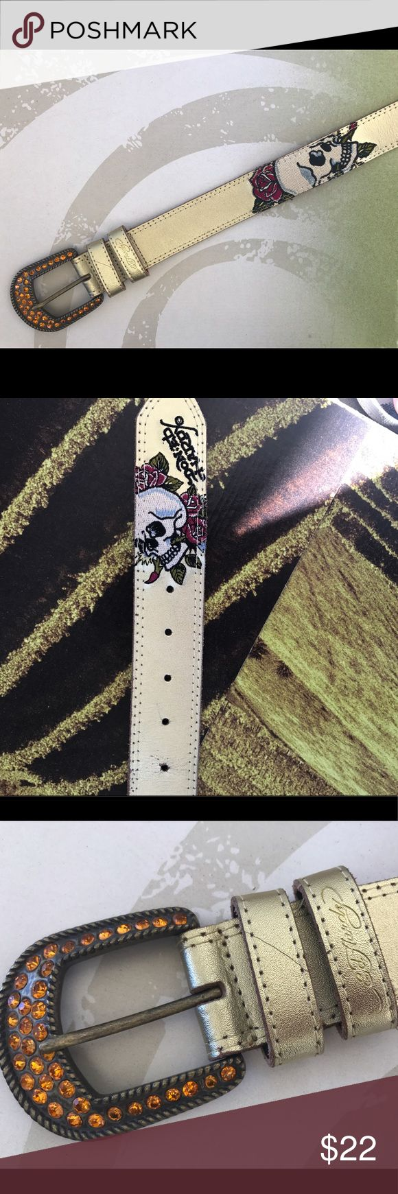 Authentic Ed Hardy distressed leather belt Genuine leather tattoo-style prints. Authentic Ed Hardy belt with orange rhinestones on buckle. Some signs of wear but looks amazing. Ed Hardy Accessories Belts