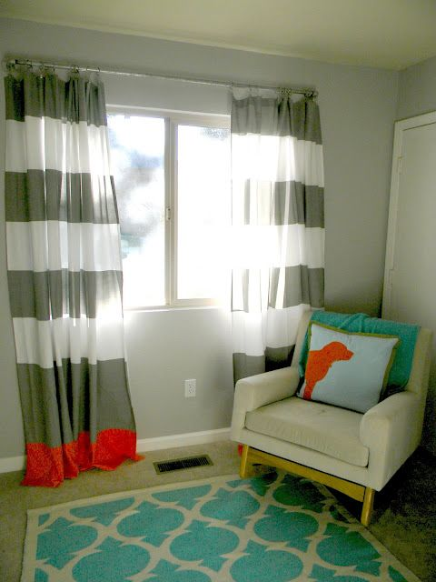These drapes are actually shower curtains from @west elm with a bright trim added. LOVE! #DIY #nursery: Colors Pop, Boys Nurseries, Curtains Rods, Colors Combinations, Projects Nurseries, Stripes Curtains, Shower Curtains, Nurseries Ideas, Baby Nurseries