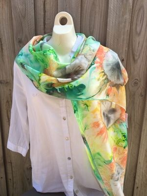 Hand painted pure silk scarf (Habotai) One Of A KindSize 176cm x 35cmComes in gift box with booklet showing different ways to wear your beautiful scarf