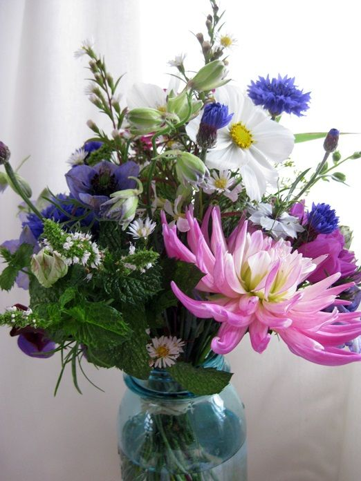 Purple and blue bridesmaid posies