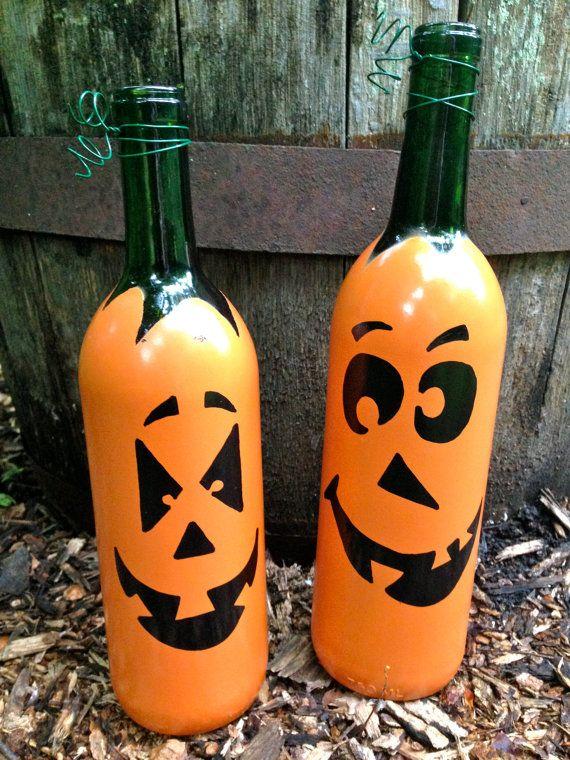 Fall pumpkin wine bottle d cor cute autumn by for Cute wine bottles
