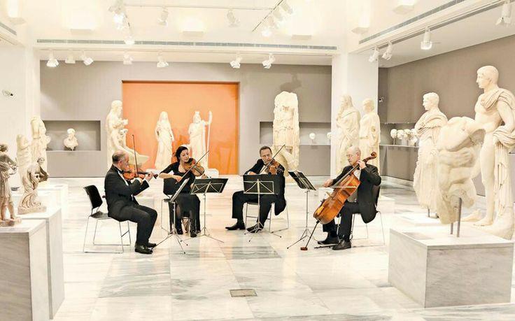 Soren Lyng Hansen playing with the Heraklion Municipal String Quartet at The Heraklion Archaeological Museum. April 1, 2014
