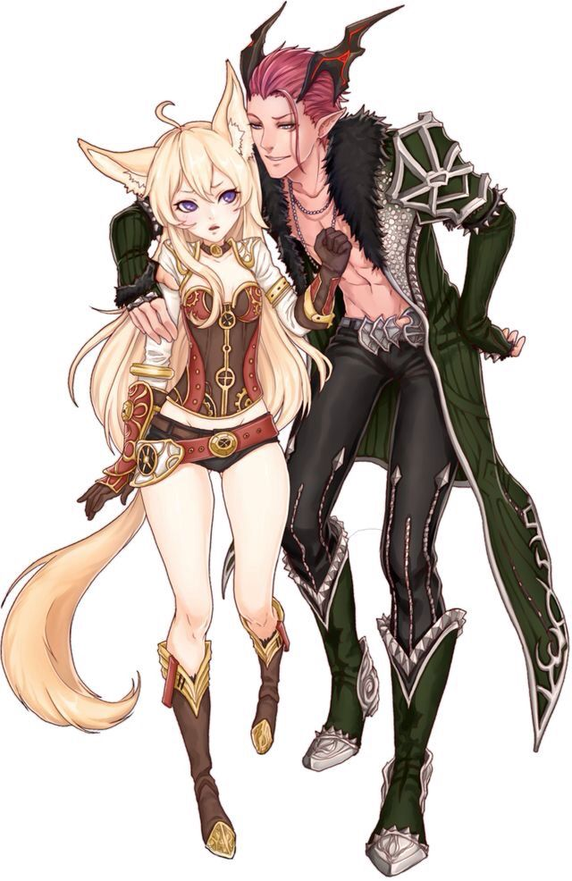 Anime girl fox and boy