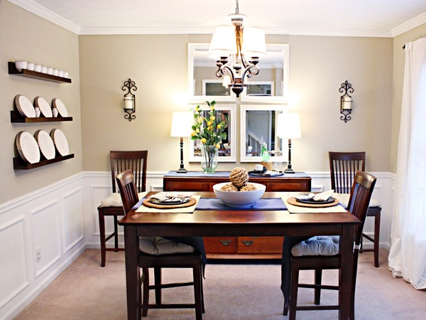 Love The White Wainscoating And Dark Furniture In This Dining Room